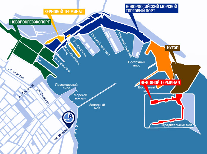 Карта порта Новороссийска